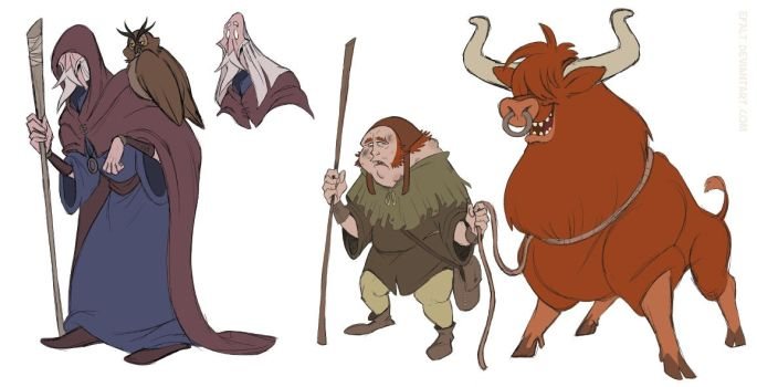Character Design: Wizard and Peasant by Efalt