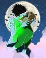 Hal(green lantern)Jordan + Monica(photon)Rambeau by DerekL