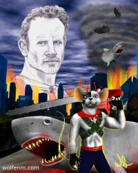 Ian Ziering: A Biker Mouse vs Sharks by WolfenM