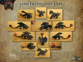Toothless and Fish - various views by Strecno