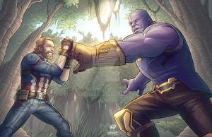 Cap Vs. Thanos - Avengers Infinity War by kpetchock