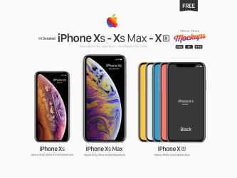 Free iPhone Xs, Xs Max, Xr Mockup PSD, Ai and EPS by Designbolts