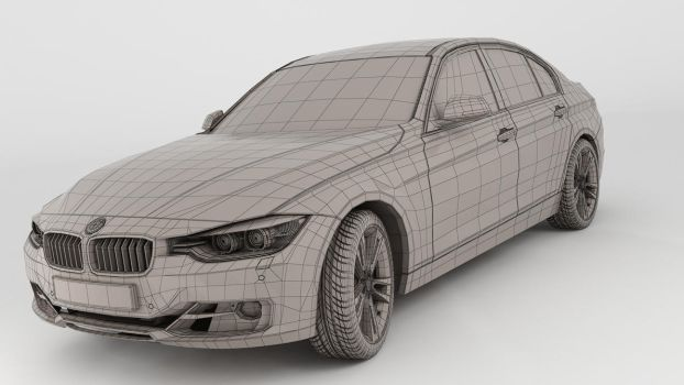 BMW 335i 2012 wireframe render by 3Dstate