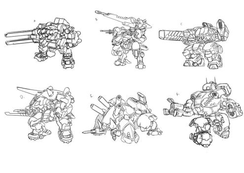 Super Heavy Mechs Doodles by dlredscorpion