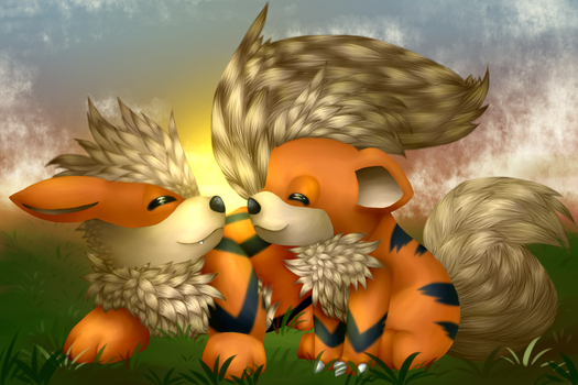 Arcanine and Growlithe by Henchu