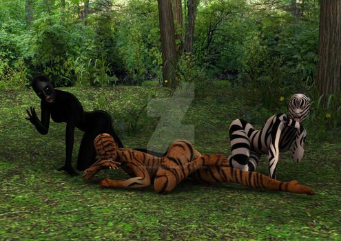 Tiger Women Bathing by borgking001a
