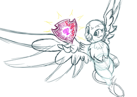 Lux Brush Vector Sketch: Gabby gets her cutie mark by Alixnight