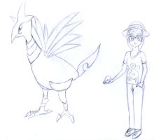 Skarmory and its trainer sketch by frolka