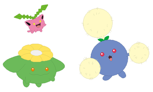 Hoppip, Skiploom and Jumpluff Base by SelenaEde