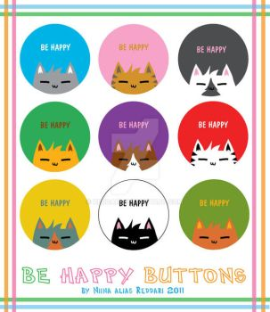 Be Happy - Buttons by Reddari