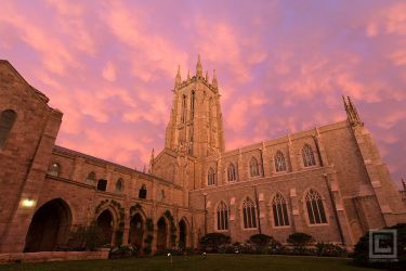 Mammatus Clouds over Bryn Athyn Cathedral at Dusk by soak2179