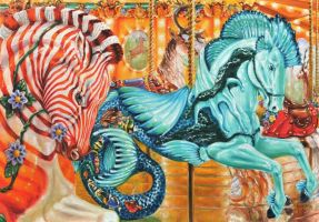 Quigga and Sea horse carousel by veracauwenberghs