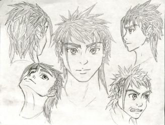 Anime Head Angle and Expressions Practice. by Taqresu650