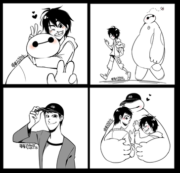 Baymax and Hamada brother by aulauly7