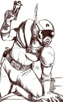 Daily Sketch: Rubber Suit Hunter by Hunchy