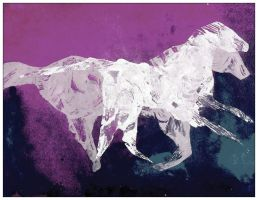 postcard Two White Horses f by JabLab