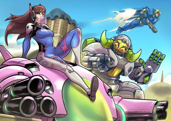 Overwatch: DVA, Orisa and Pharah by SupaCrikeyDave