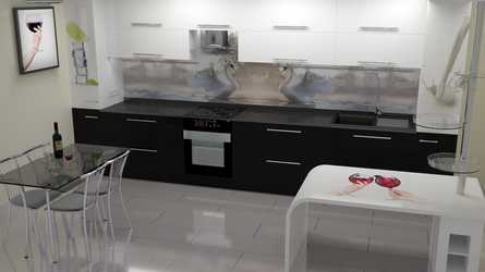 kitchen BW modern by Lukazoid