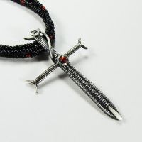 Sterling and Red Crystal Sword Necklace by Gailavira