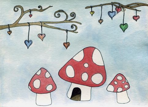 Whimsical Toadstool Homes by Spirit-catcher