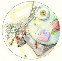 Afternoon tea time -Watercolor by Zaozi-Nanaly