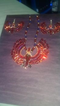 Fire Bird Earrings and Pendant Set by Moongara