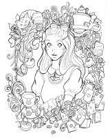 Alice in Wonderland - lineart by Namtia
