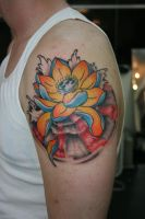 Traditionalish Lotus and waves by Lucky-Cat-Tattoo