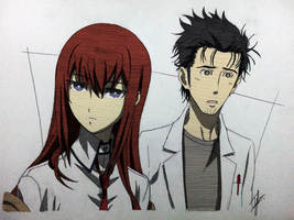 Okabe Rintarou x Makise Kurisu (colored) by Izham-ZK9