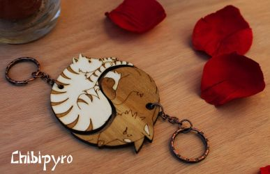 Wooden Keychain Cat And Wolf by ChibiPyro