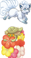 Pixel Alolan Vulpix and Comfey