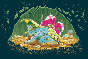 Venusaur's mud bath