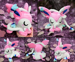 Sleepy Sylveon plush I Pokemon by PinkuArt