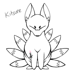 (Free to color) Kitsune by Arcticwolf39905