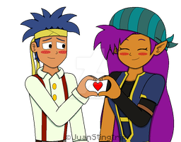 [Request] Bolo and Shantae as Jesse and Petra by JuanStingtrip