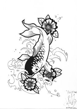 Koi and Flowers Henna Design by JJShaver
