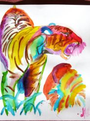 Tiger in colors by exatitude
