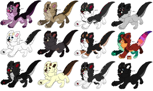 Free Adoptables batch 125 (Closed) by Kitty-of-Doom524