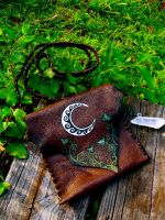 Crescent Moon and Ivy Leather Bag by EireCrescent