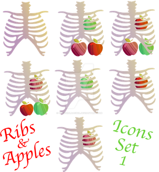 Rib and Apples Icons Set 1 by GodsGirlRachel