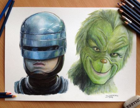 Pencil drawing of Robocop and the Grinch by AtomiccircuS