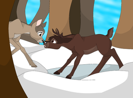 Bambi's parents meet by EarthIce224