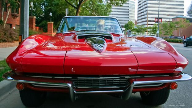 Corvette 1967 Red Convertible Front View Two by rimete