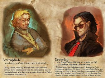 Aziraphale and Crowley by juliedillon