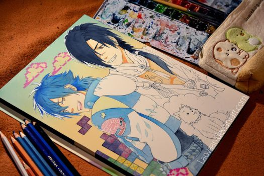 DRAMAtical Murder - Aoba and Koujaku (WiP) by Laovaan