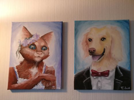 Painting of Miss Cat and Mister Dog by Tiialle