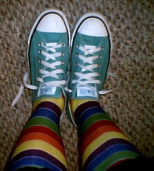 rainbow socks and converse by hedwigurl92