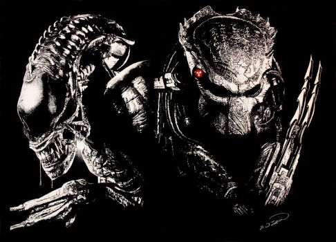Alien vs Predator Scratchboard by RTyson