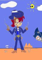 Sally Acorn The Cowgirl Gunslinger Colored by BlueSonicGamer