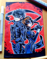 Inktober Patreon Reward: Akira and Makoto by manu-chann